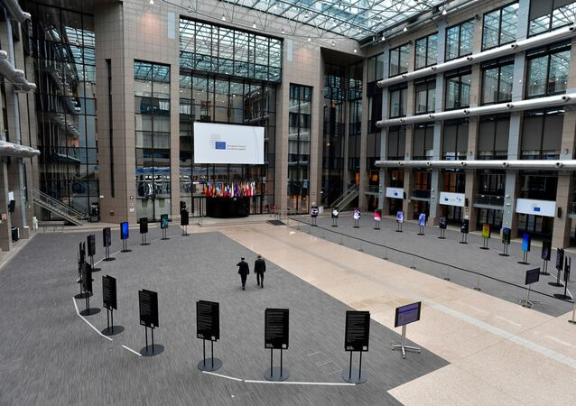 General view of the empty media area in the atrium of the EU Council building on the fourth day of an EU summit in Brussels, Belgium 20 July 2020.