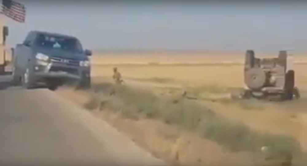 Footage of the scene of an accident involving a coalition vehicle in which one US servicemember was killed. July 21, 2020.
