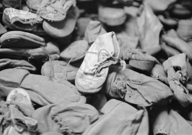 Pile of child victims' shoes at Auschwitz death camp