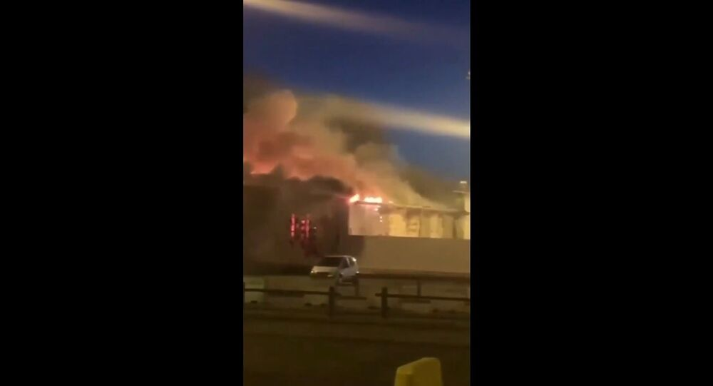 Fire at the airport of Belgium's city of Liege on 22 June 2020