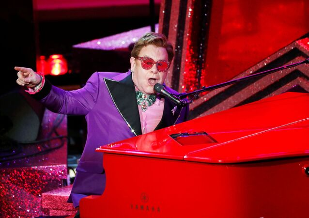 Elton John performs (I'm Gonna) Love Me Again from Rocketman during the Oscars show at the 92nd Academy Awards in Hollywood, Los Angeles, California, U.S., February 9, 2020.