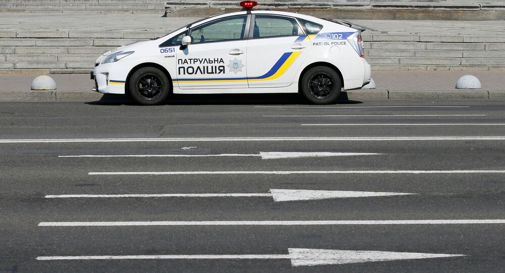 A police car is seen in central Kyiv, Ukraine July 6, 2020