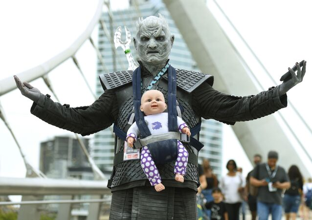 Man dressed as the Night King from Game of Thrones, attends Comic-Con  International 2018 at San Diego.