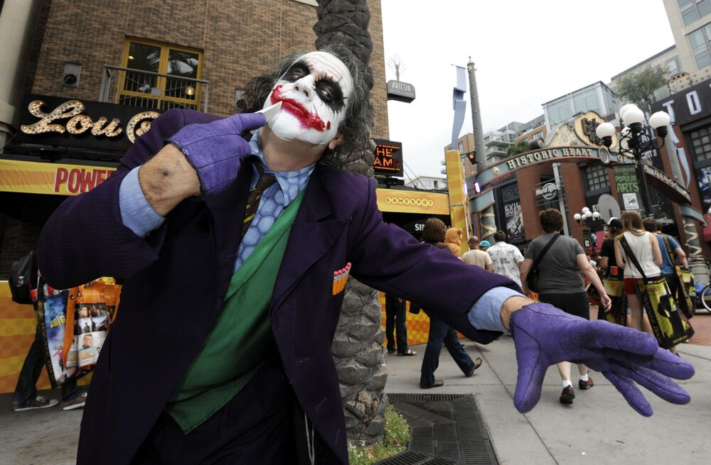 A man dressed as the Joker at San Diego Comic-Con 2012.