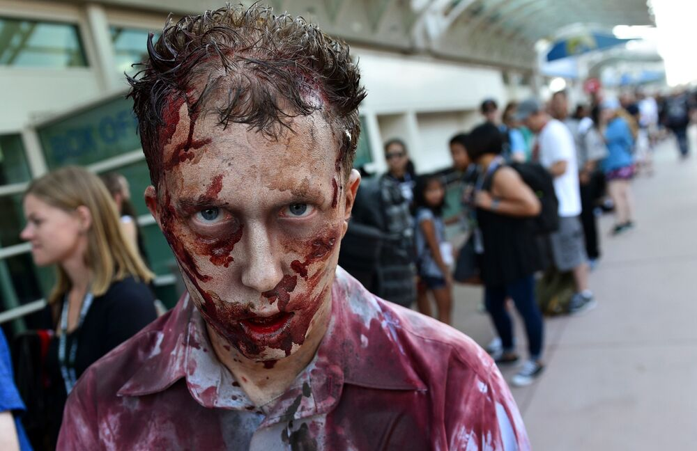 Visitor to Comic-Con International as a character from the TV series The Walking Dead in San Diego, 2018.