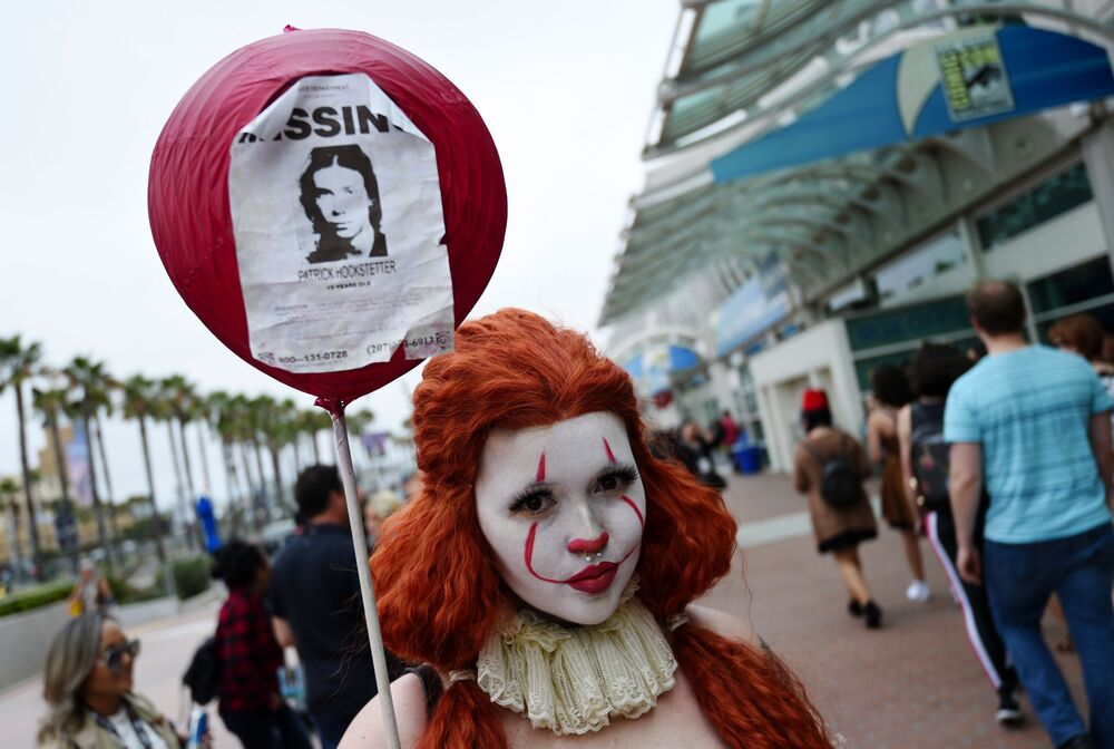 Ana Niebla of San Diego models her own Princess Pennywise outfit before Preview Night of the 2019 Comic-Con International: San Diego, Wednesday, 17 July 2019, in San Diego.