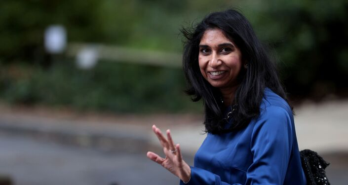 Britain's Attorney General Suella Braverman walks outside Downing Street in London in July 2020.