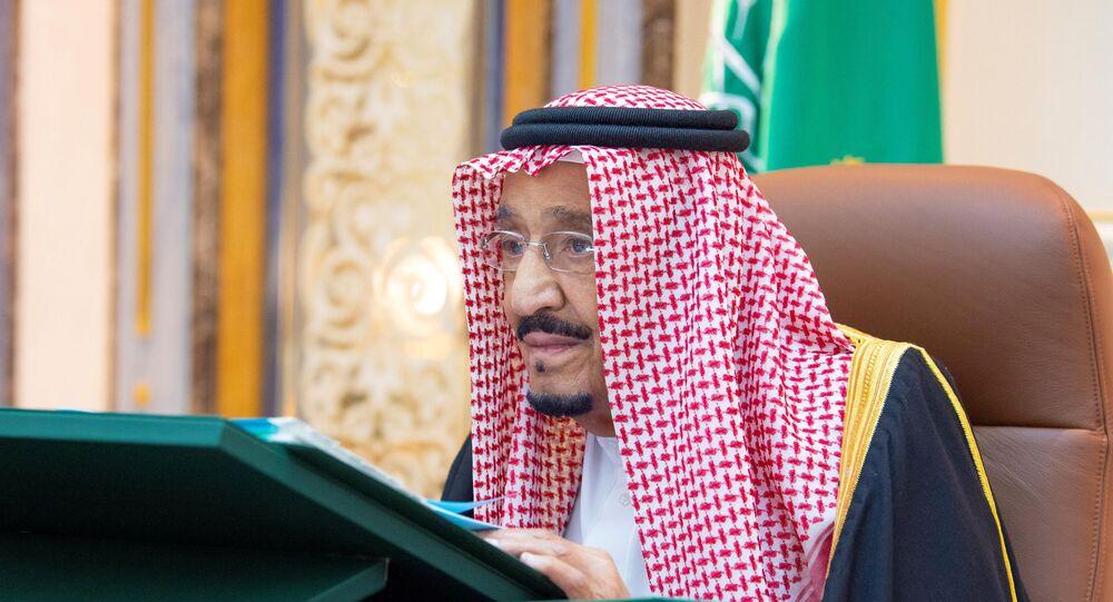 Saudi King Salman bin Abdulaziz attends a cabinet meeting via video call from Kind Faisal Hospital, in Riyadh, Saudi Arabia July 21, 2020. Picture taken July 21, 2020.