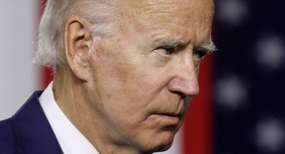 Democratic US presidential candidate and former Vice President Joe Biden concludes remarks about his plans for tackling climate change during a campaign event in Wilmington, Delaware, US, 14 July 2020