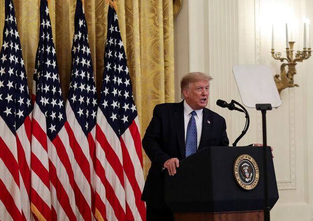 "US President Donald Trump speaks about sending federal law enforcement agents to several U.S. cities to assist local police in combating what the Justice Department has described as a ""surge"" of violent crime, in the East Room at the White House in Washington, US, July 22, 2020."