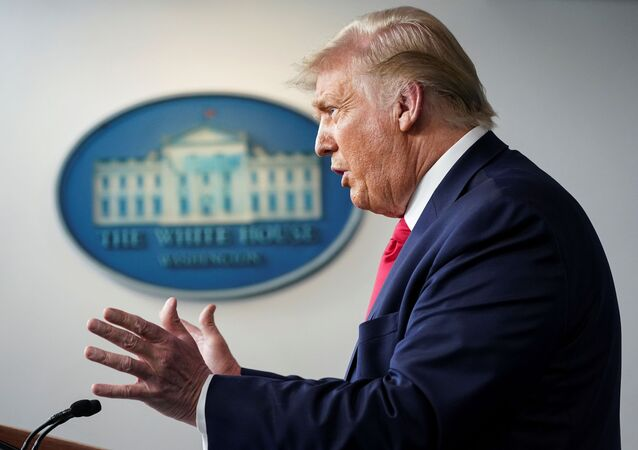 U.S. President Donald Trump speaks during a coronavirus disease (COVID-19) news briefing at the White House in Washington, U.S., July 23, 2020.