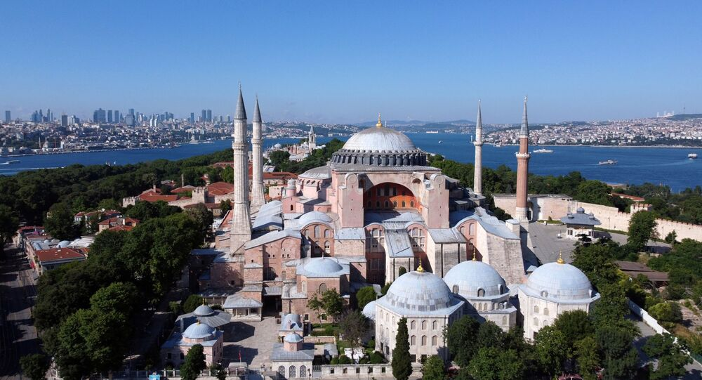 Hagia Sophia or Ayasofya, a UNESCO World Heritage Site, that was a Byzantine cathedral before being converted into a mosque which is currently a museum, is seen in Istanbul, Turkey, June 28, 2020