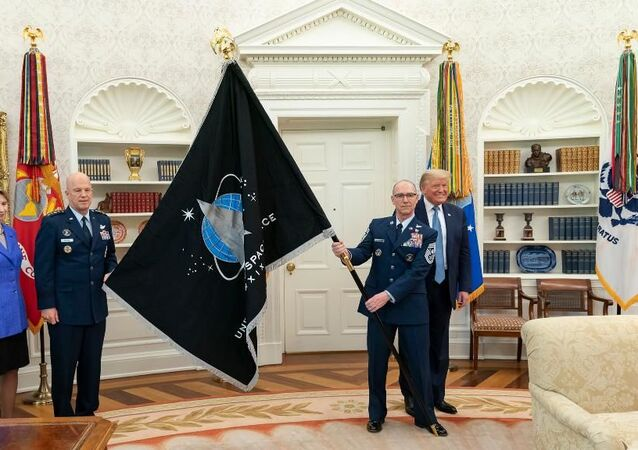 Presentation of the Space Force flag at the Oval Office, May 17, 2020.