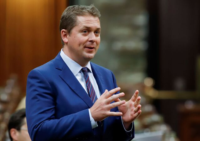 Canada's Conservative Party leader Andrew Scheer asks a question about the Economic and Fiscal Snapshot in the House of Commons on Parliament Hill in Ottawa, Ontario, Canada July 8, 2020.