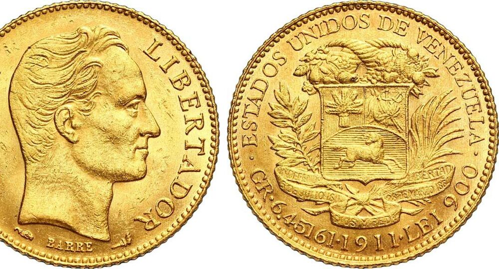 1911 gold 20 bolivares coin featuring the face of Simon Bolivar, a Venezuelan political leader and general who led much of Latin America to independence from the Spanish Empire.