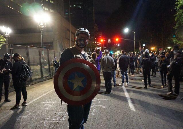 Protesters in Portland