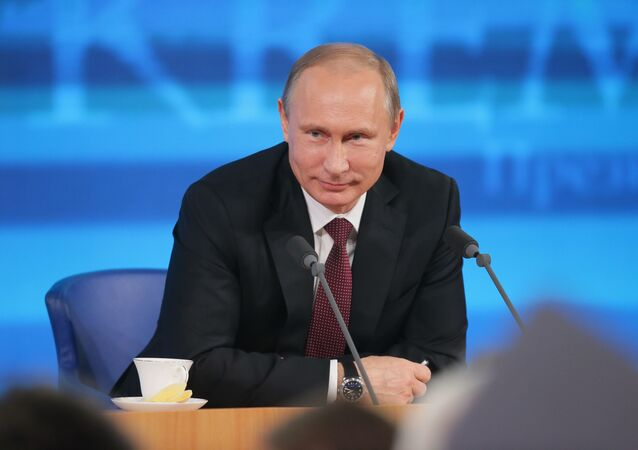 President Vladimir Putin facing reporters at the annual Q&A session