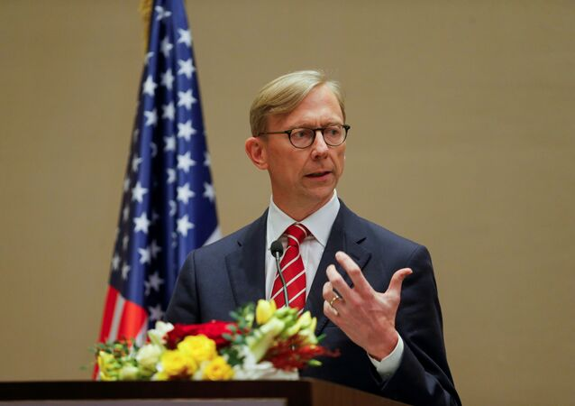 U.S. Special Representative for Iran Brian Hook speaks during a joint news conference with Bahrain Foreign Minister, Dr. Abdullatif bin Rashid Al Zayani (not pictured), in Manama, Bahrain June 29, 2020
