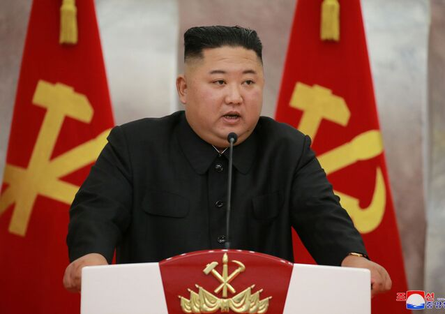 North Korean leader Kim Jong Un speaks at an event to confer Paektusan commemorative pistols to leading commanding officers of the armed forces on the 67th anniversary of the Day of Victory in the Great Fatherland Liberation War, which marks the signing of the Korean War armistice, in this undated photo released on July 27, 2020 by North Korean Central News Agency (KCNA) in Pyongyang.
