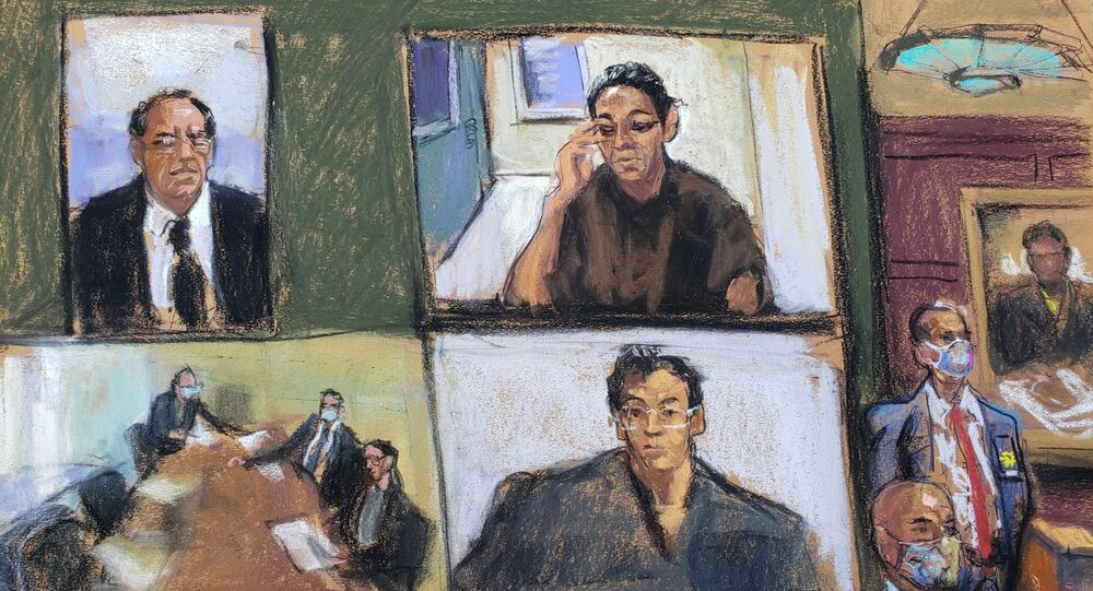 Ghislaine Maxwell appears via video link during her arraignment hearing where she was denied bail for her role aiding Jeffrey Epstein to recruit and eventually abuse of minor girls, in Manhattan Federal Court, in the Manhattan borough of New York City, New York, U.S. July 14, 2020 in this courtroom sketch
