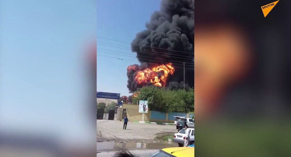 Fire After a Blast In The Western Iranian Province