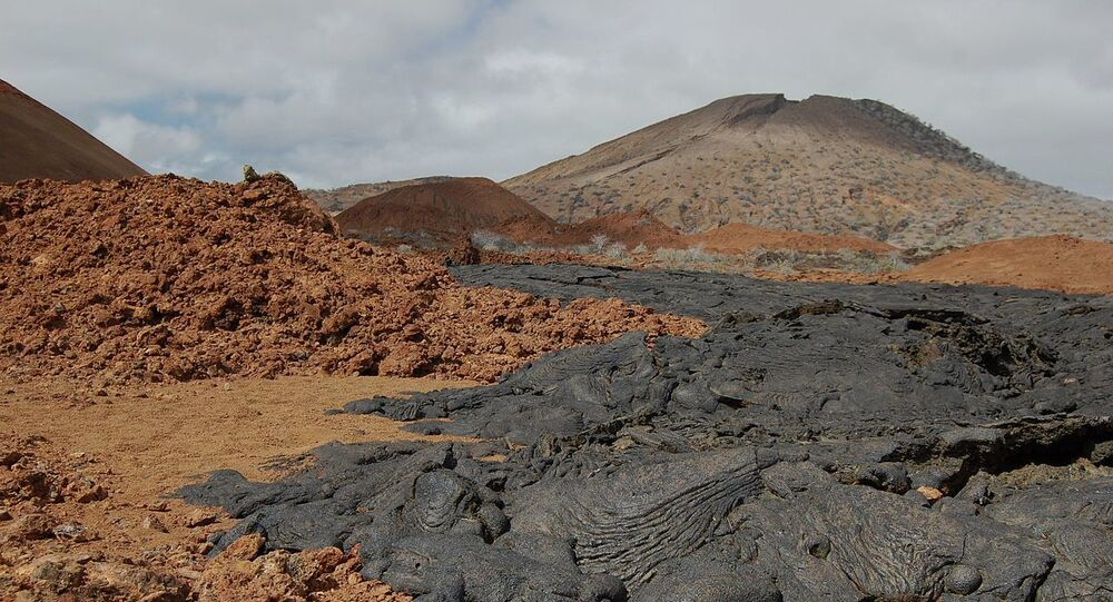 Volcanic Cones and Lava Flows in Galapagos Islands