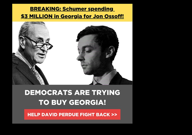 BREAKING: Chuck Schumer's super PAC is spending $3 MILLION on false attack ads against me!  I need YOU to help me set the record straight. We must not let Schumer and the radical left buy Georgia's Senate for the Democrats!