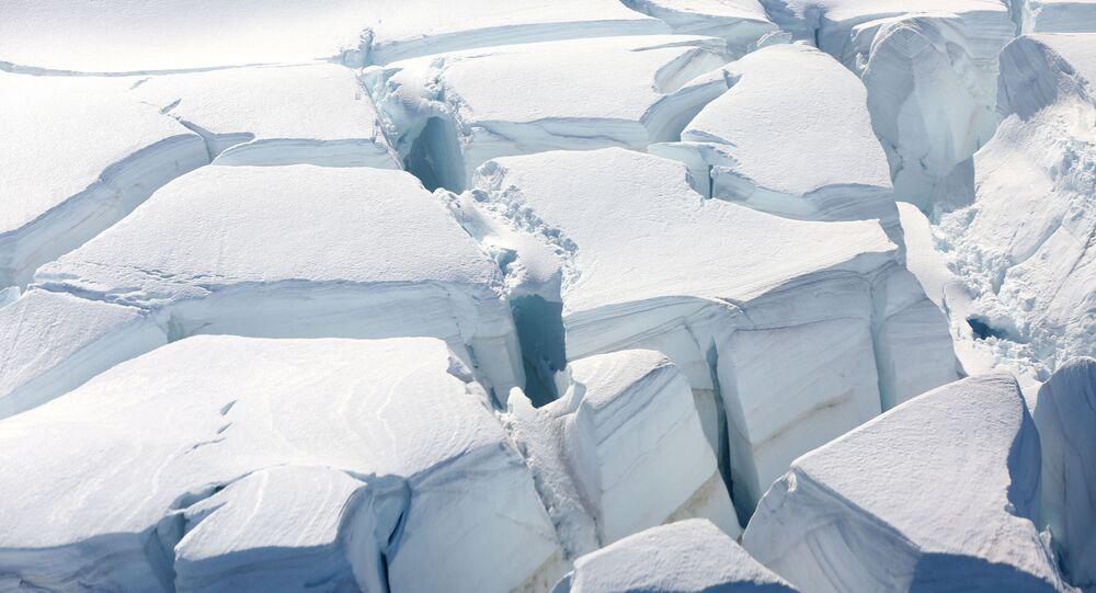 A glacier is seen in Half Moon Bay, Antarctica, February 18, 2018