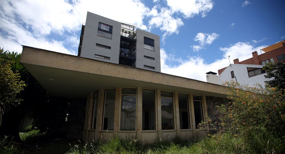 General view of the facade of the Venezuelan consulate, after it's been looted for months, in Bogota, Colombia July 28, 2020.
