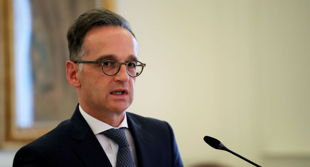 German Foreign Minister Heiko Maas speaks during a news conference at the Ministry of Foreign Affairs in Athens, Greece, July 21, 2020.