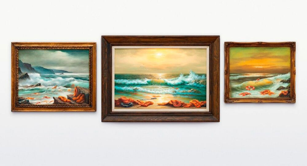 The 'Mediterranean Sea View 2017' triptych by anonymous England-based street artist Banksy.