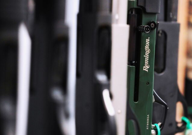 Remington shotguns are displayed during the annual National Rifle Association (NRA) convention in Dallas, Texas, U.S., May 6, 2018.