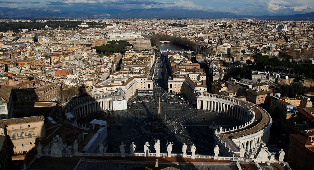 A general view of Saint Peter's Square and the city of Rome is seen from the cupola of Saint Peter's Basilica at the Vatican March 14, 2013