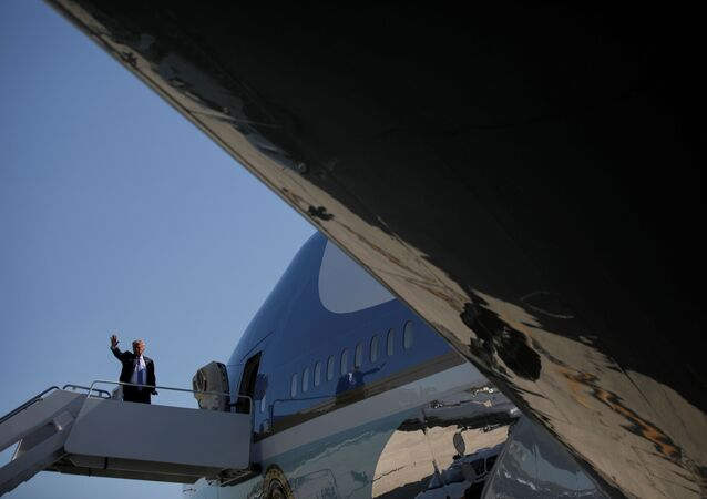 U.S. President Donald Trump boards Air Force One as he departs Washington for travel to Midland, Texas at Joint Base Andrews, Maryland, U.S., July 29, 2020