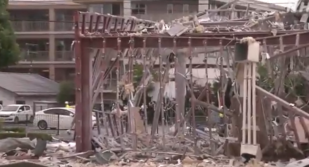 Screenshot of the video allegedly showing aftermath of the explosion in Koriyama city
