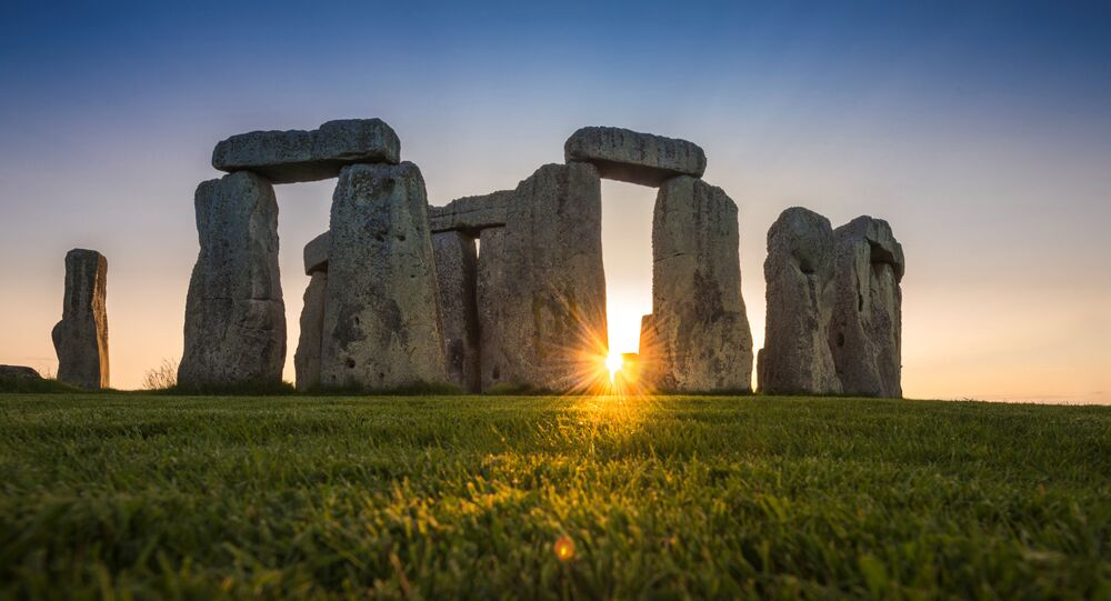 General view of the Stonehenge stone circle during the sunset, near Amesbury, Britain, as seen in this undated image provided to Reuters on July 29, 2020.