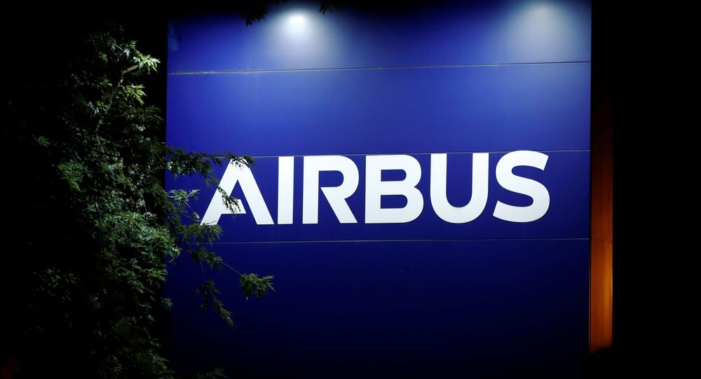 A logo of Airbus is seen at the entrance of its factory in Blagnac near Toulouse, France July 2, 2020