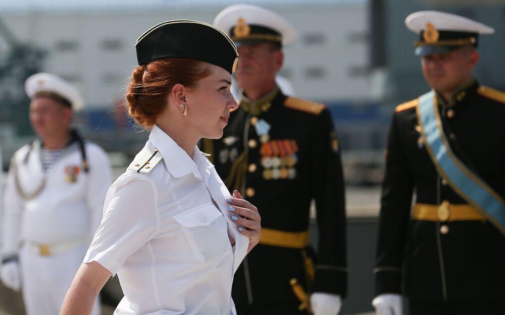 Sailors of Russia's Black Sea Fleet at a Navy Day parade at the Novorossiysk naval base.
