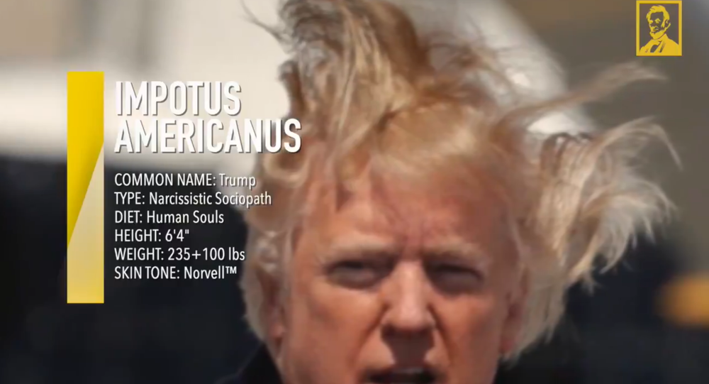 A screenshot from a video by the Lincoln Project, mocking US President Donald Trump
