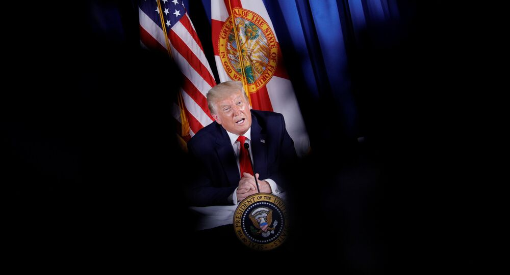 U.S. President Donald Trump speaks during a COVID-19 Response and Storm Preparedness event at the Pelican Golf Club in Belleair, Florida, U.S., July 31, 2020.