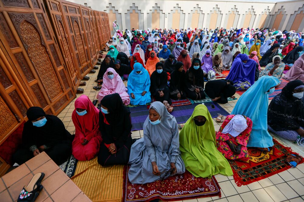 Nigerian Muslims are seen during Eid al-Adha prayers at the National Mosque, during the outbreak of the coronavirus disease (COVID-19) in Abuja, Nigeria, 31 July 2020.