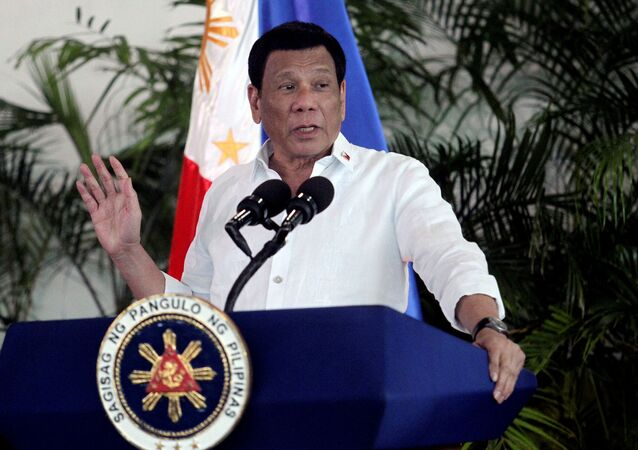 President Rodrigo Duterte speaks after his arrival, from a visit in Israel and Jordan at Davao International airport in Davao City in southern Philippines, September 8, 2018