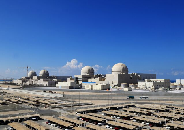 A file photo taken on November 12, 2019 as a handout picture obtained from the media office of the Barakah Nuclear Power Plant on February 13,  shows a general view of the power plant in the Gharbiya region of Abu Dhabi on the Gulf coastline about 50 kilometres west of Ruwais.