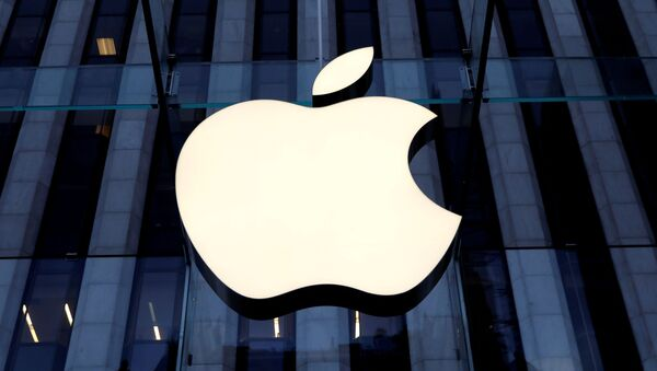 The Apple Inc logo is seen hanging at the entrance to the Apple store on 5th Avenue in Manhattan, New York, U.S., October 16, 2019 - Sputnik International