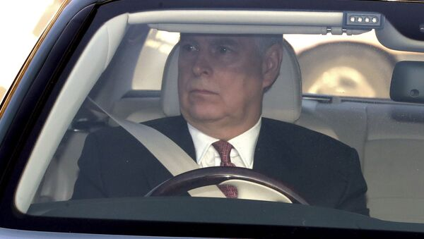 Britain's Prince Andrew drives into Buckingham Palace, as he arrives for the traditional Queen's Christmas lunch, in London - Sputnik International