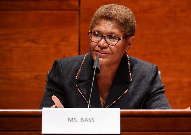 Rep. Karen Bass (D-CA) speaks on Capitol Hill in Washington, U.S.,  June 17, 2020.