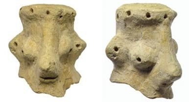 Figurines allegedly depicting the face of the Hebrew God.