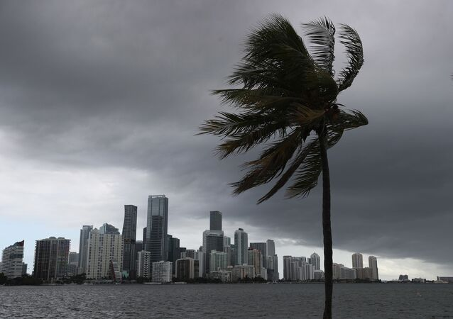 Storm clouds are seen over the city as Hurricane Isaias approaches the east coast of Florida on August 01, 2020 in Miami, Florida.