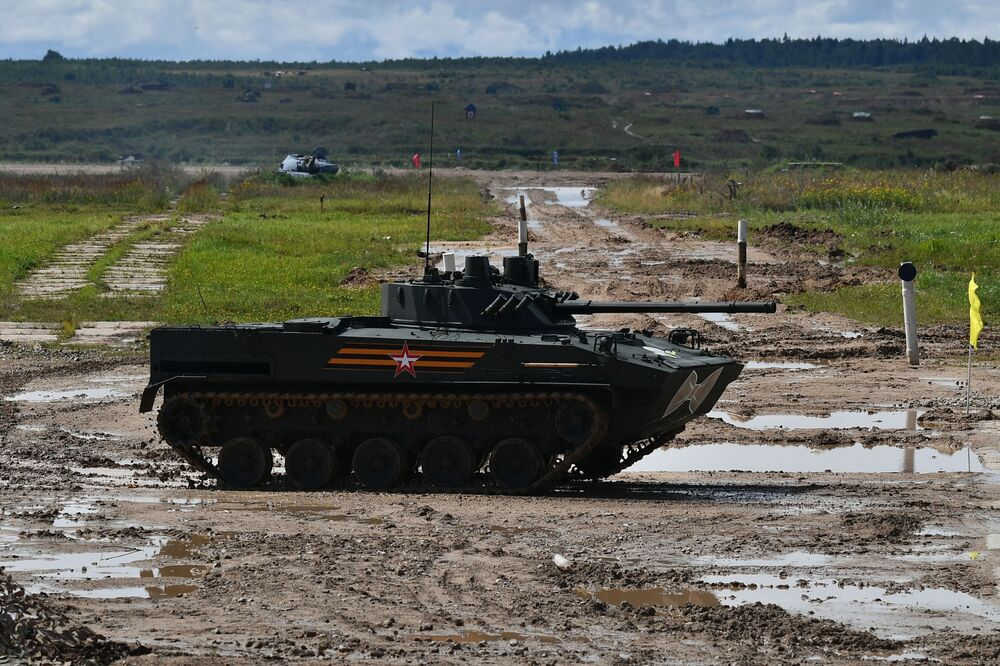 Demonstration performances of the BMD-4M airborne assault vehicle at the military sports festival honouring  Airborne Forces Day at the Alabino training ground.