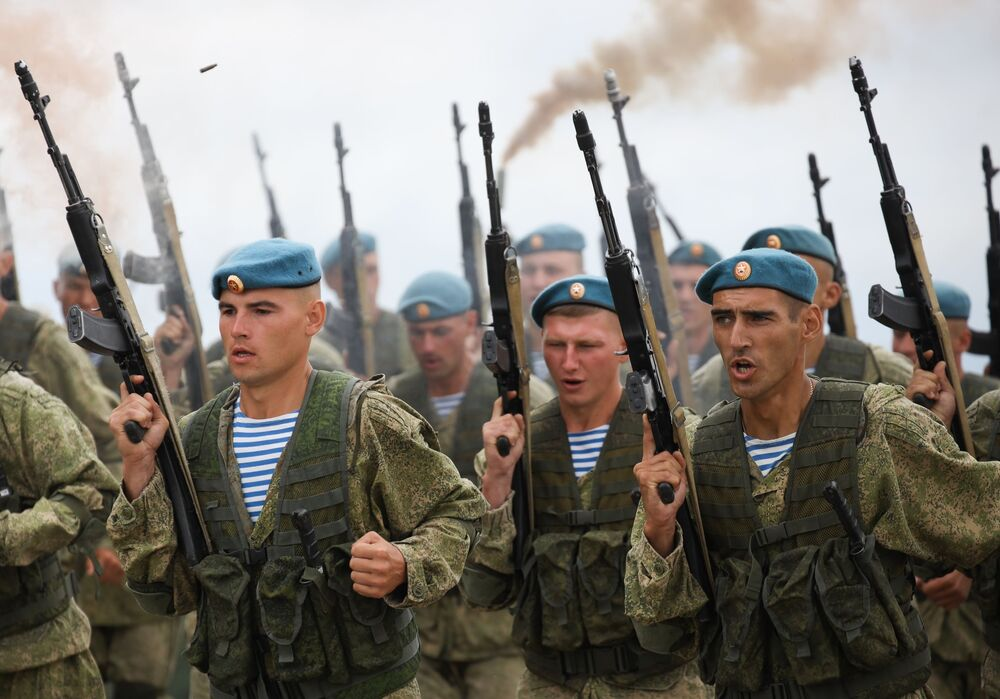 Demonstration performances of paratroopers at festive events in honour of the Airborne Forces Day at the Raevsky training ground in Krasnodar Territory.